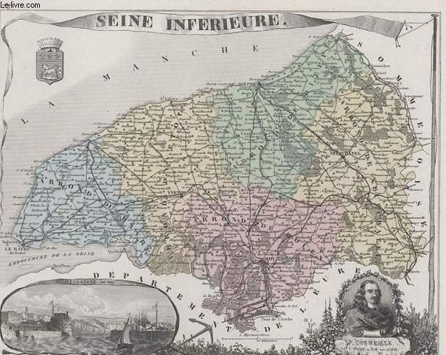 GRAVURE 19eme COULEURS - LA FRANCE - SEINE INFERIEURE - PLANCHE N°73
