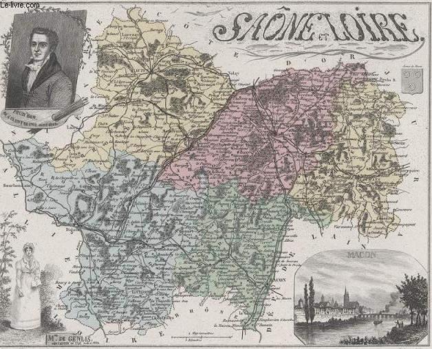 GRAVURE 19eme COULEURS - LA FRANCE - SAONE ET LOIRE - PLANCHE N�70