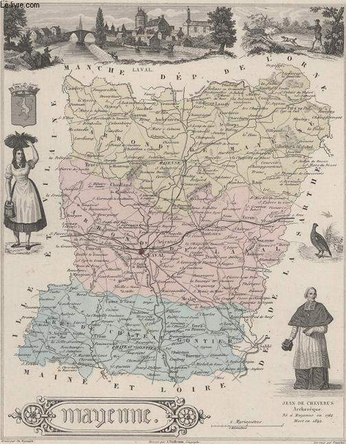 GRAVURE 19eme COULEURS - LA FRANCE - MAYENNE - PLANCHE N°52
