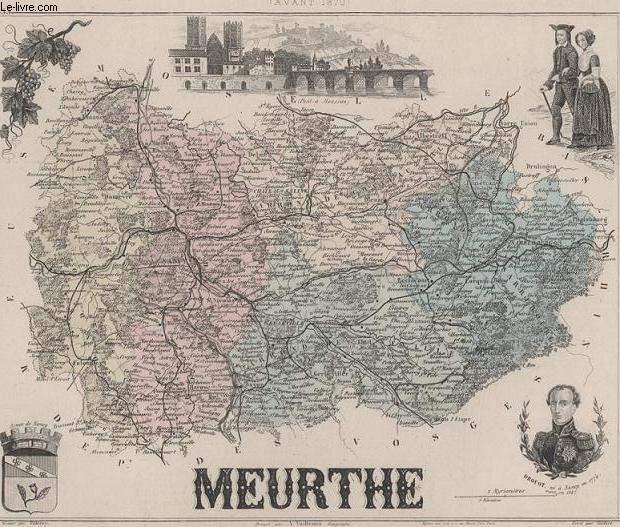 GRAVURE 19eme COULEURS - LA FRANCE AVANT 1870 - MEURTHE - PLANCHE N°53