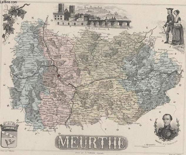 GRAVURE 19eme COULEURS - LA FRANCE - MEURTHE - PLANCHE N°53