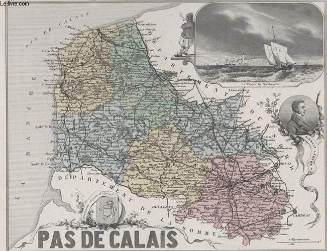 GRAVURE 19eme COULEURS - LA FRANCE - PAS DE CALAIS - PLANCHE N�61