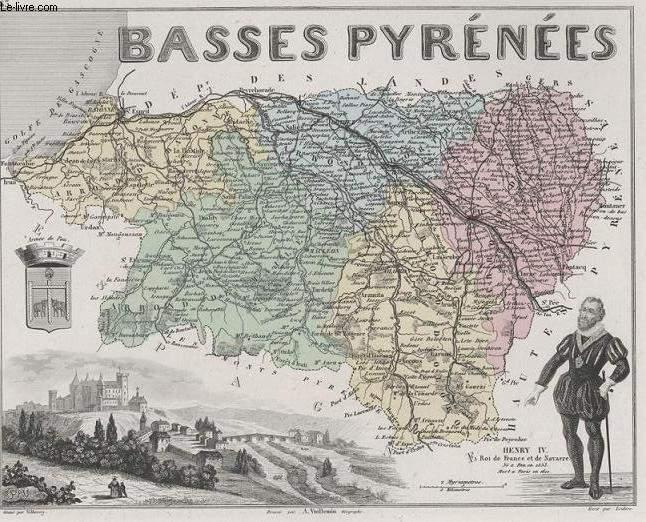 GRAVURE 19eme COULEURS - LA FRANCE - BASSES PYRENEES - PLANCHE N�63