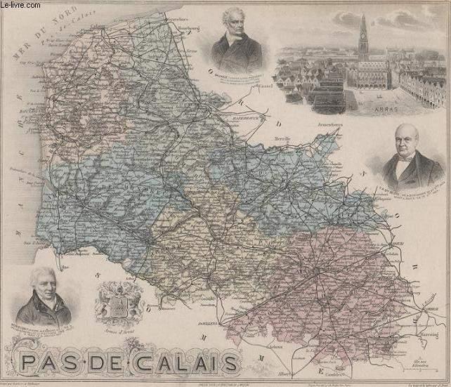 GRAVURE 19eme COULEURS - LA FRANCE - PAS DE CLAIS - PLANCHE N°61