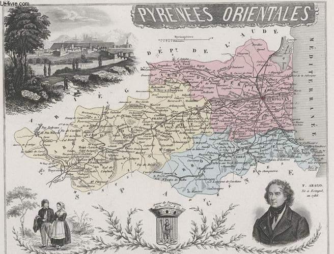 GRAVURE 19eme COULEURS - LA FRANCE - PYRENEES ORIENTALES - PLANCHE N°65