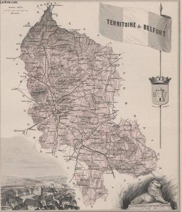 GRAVURE 19eme COULEURS - LA FRANCE - TERRITOIRE DE BELFORT - PLANCHE N°67BIS