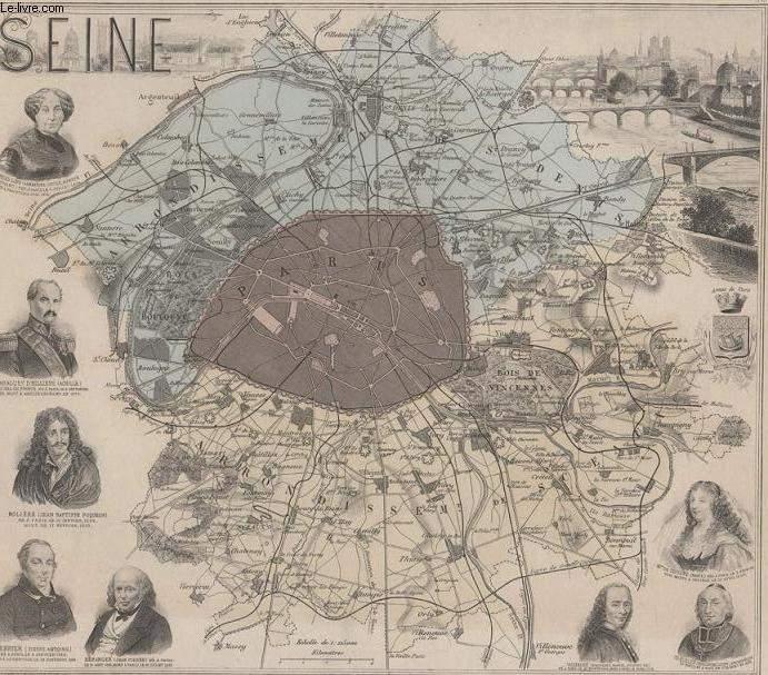 GRAVURE 19eme COULEURS - LA FRANCE - SEINE - PLANCHE N°72