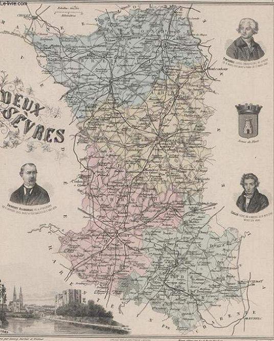 GRAVURE 19eme COULEURS - LA FRANCE - DEUX SEVRES - PLANCHE N°76