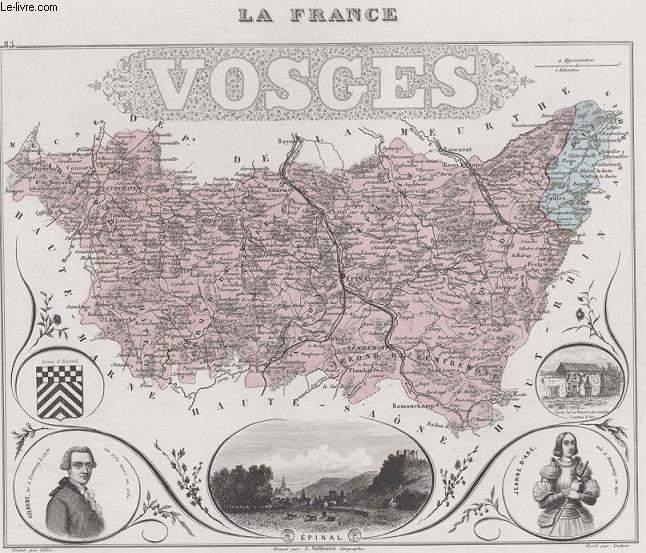 GRAVURE 19eme COULEURS - LA FRANCE - VOGES - PLANCHE N�85