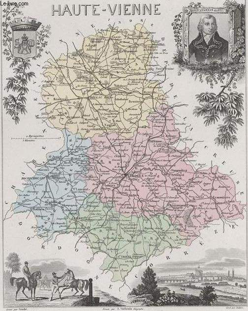 GRAVURE 19eme COULEURS - LA FRANCE - HAUTE VIENNE - PLANCHE N°84