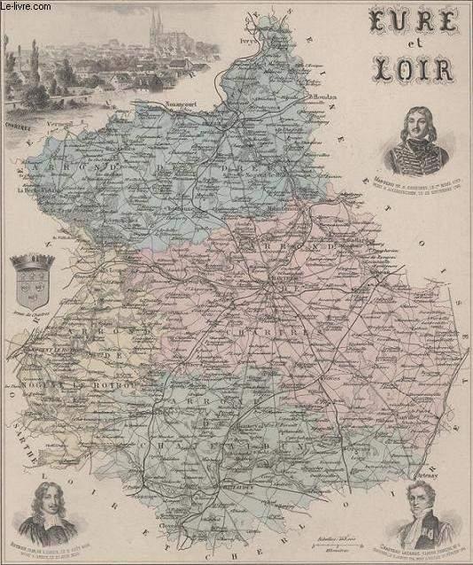 GRAVURE 19eme COULEURS - LA FRANCE - EURE ET LOIR - PLANCHE N°27