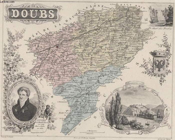 GRAVURE 19eme COULEURS - LA FRANCE - DOUBS - PLANCHE N°24