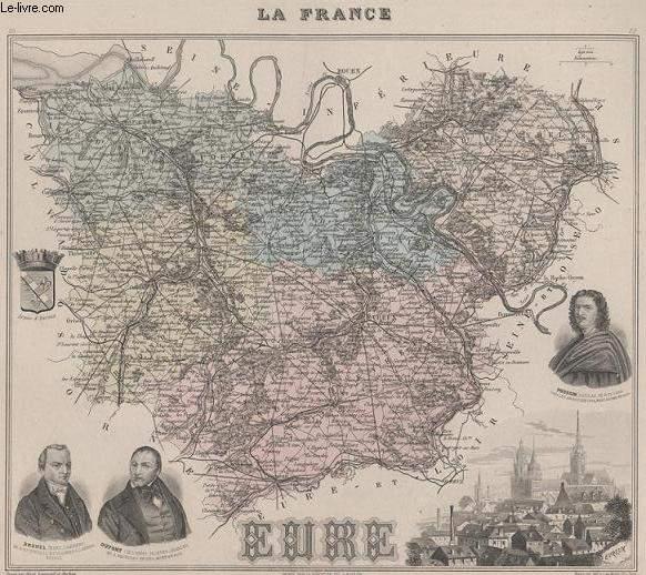 GRAVURE 19eme COULEURS - LA FRANCE - EURE - PLANCHE N�26