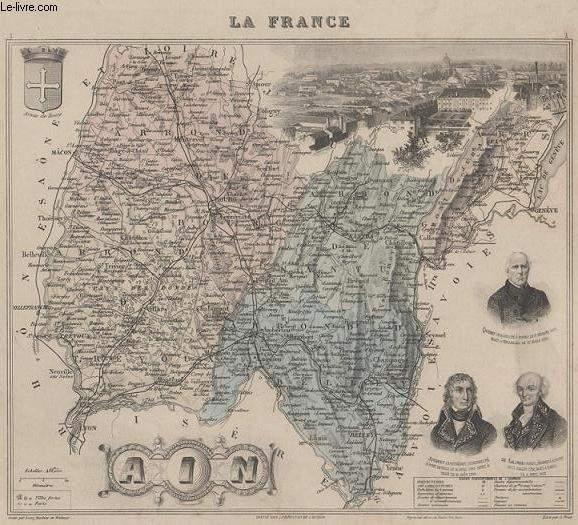 GRAVURE 19eme COULEURS - LA FRANCE - AIN - PLANCHE N°1