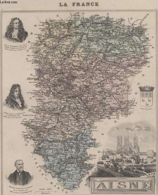 GRAVURE 19eme COULEURS - LA FRANCE - AISNE - PLANCHE N°2