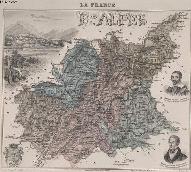 GRAVURE 19eme COULEURS - LA FRANCE - BASES ALPES - PLANCHE N°4