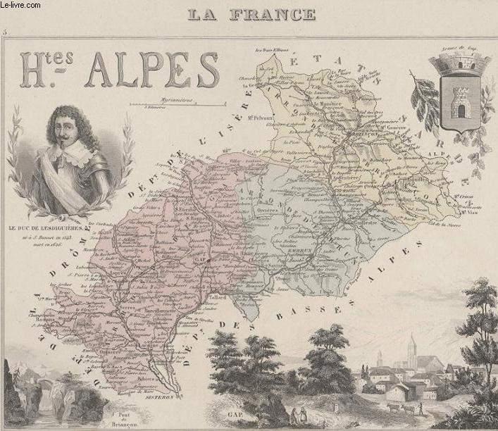 GRAVURE 19eme COULEURS - LA FRANCE - HAUTES ALPES