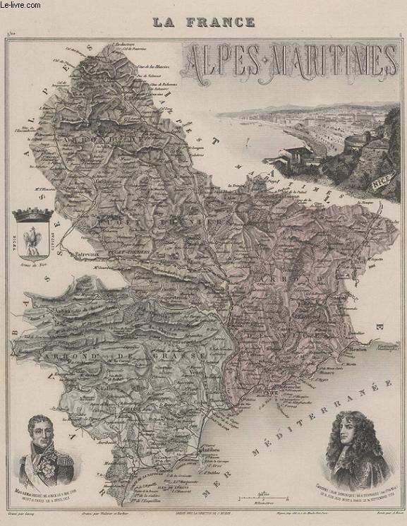 GRAVURE 19eme COULEURS - LA FRANCE - ALPES MARITIMES - PLANCHE N°5 BIS