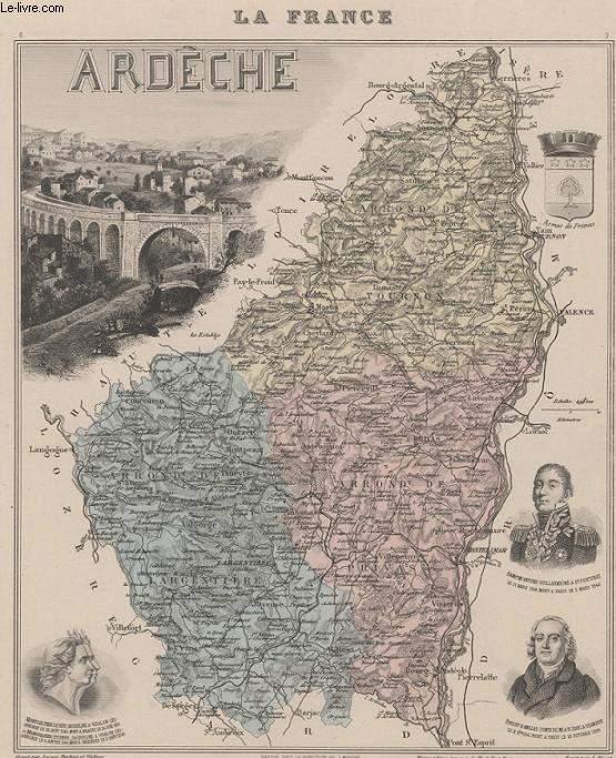GRAVURE 19eme COULEURS - LA FRANCE - ARDECHE - PLANCHE N°6