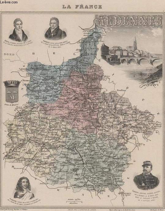 GRAVURE 19eme COULEURS - LA FRANCE - ARDENNES - PLANCHE N°7