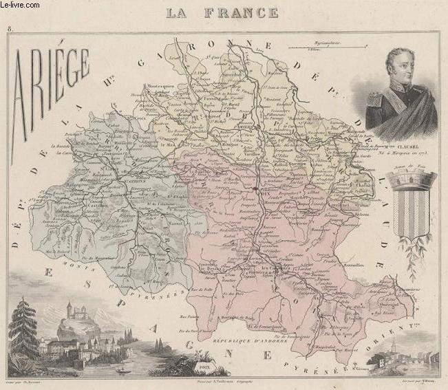 GRAVURE 19eme COULEURS - LA FRANCE - ARIEGE - PLANCHE N°8