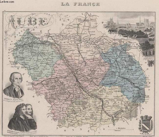 GRAVURE 19eme COULEURS - LA FRANCE - AUBE - PLANCHE N°9