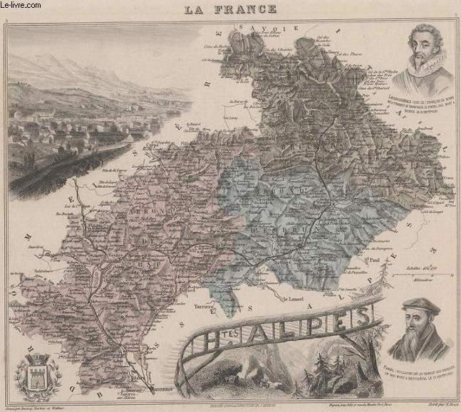 GRAVURE 19eme COULEURS - LA FRANCE - HAUTES ALPES - PLANCHE N°5