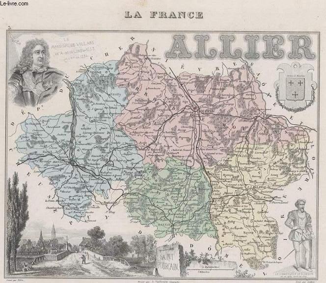 GRAVURE 19eme COULEURS - LA FRANCE - ALLIER - PLANCHE N°3