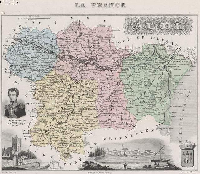 GRAVURE 19eme COULEURS - LA FRANCE - AUDE - PLANCHE N°10