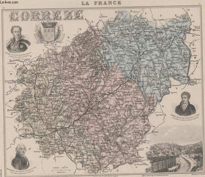 GRAVURE 19eme COULEURS - LA FRANCE - CORREZE - PLANCHE N°18