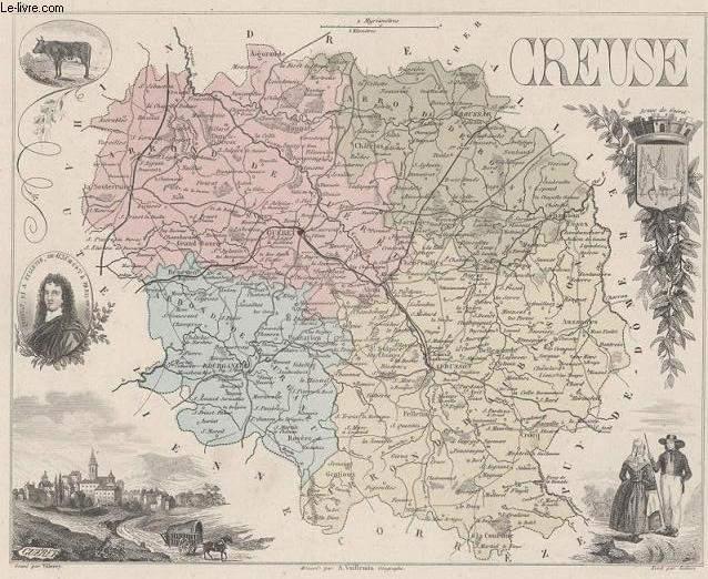GRAVURE 19eme COULEURS - LA FRANCE - CREUSE - PLANCHE N°22