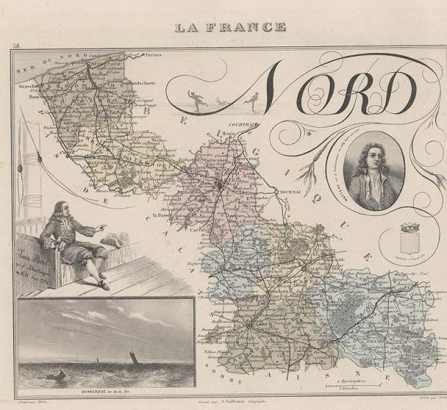 GRAVURE 19eme COULEURS - LA FRANCE - NORD - PLANCHE N°58