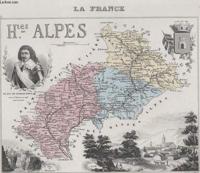 GRAVURE 19eme COULEURS - LA FRANCE - HAUTES ALPES - PLANCHE N°3