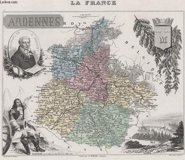 GRAVURE 19eme COULEURS - LA FRANCE - ARDENNES - PLANCHE N�7