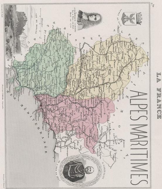 GRAVURE 19eme COULEURS - LA FRANCE - ALPES MARITIMES - PLANCHE N�5 BIS