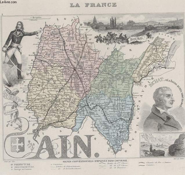GRAVURE 19eme COULEURS - LA FRANCE - AIN - N°1