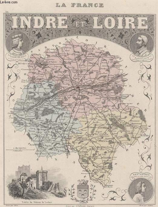 GRAVURE 19eme COULEURS - LA FRANCE INDRE ET LOIRE - N°36
