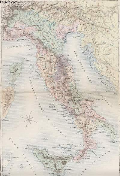 GRAVURE 19eme COULEURS - CARTE GENERALE DE L'ITALIE ANCIENNE
