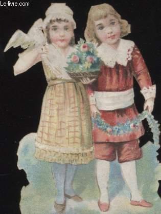 CHROMOLITHOGRAPHIE - ENFANTS FLEURS COLOMBE
