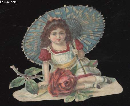CHROMOLITHOGRAPHIE - FILLE ET OMBRELLE