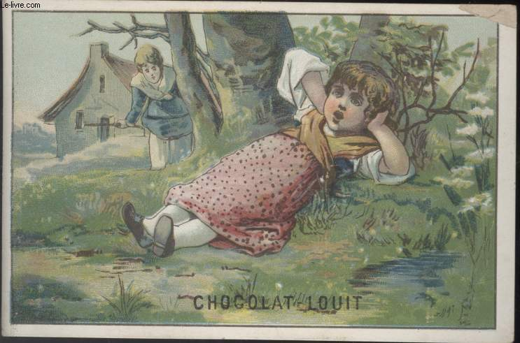 CHROMOLITHOGRAPHIE - PETITE FILLE EN ROBE ROSE