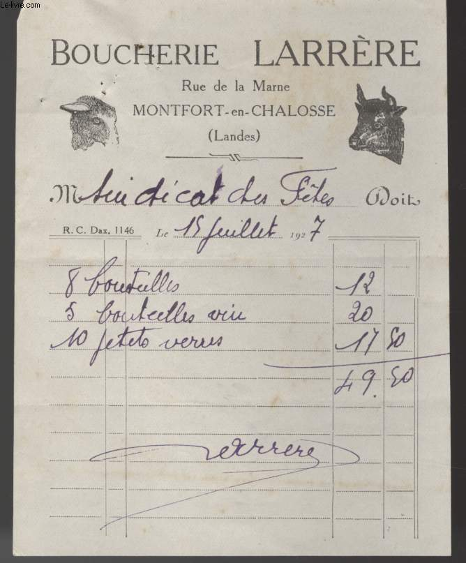 FACTURE ANCIENNE - BOUCHERIE LARRERE