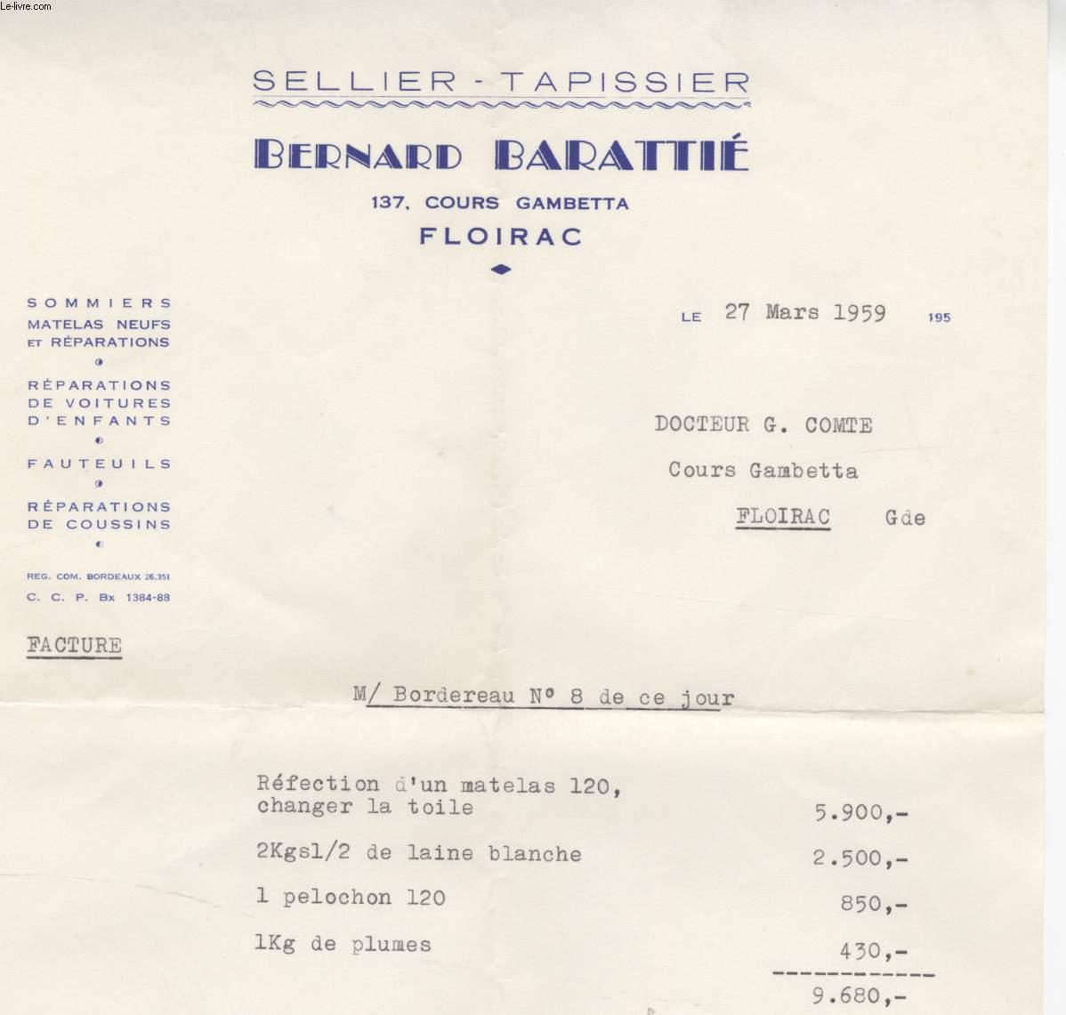FACTURE ANCIENNE - SELLIER - TAPISSIER - BERNARD BARATHE