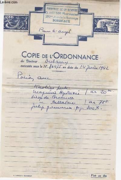 FACTURE ANCIENNE - COPIE D'ORDONNANCE