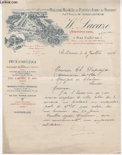 FACTURE ANCIENNE - MAISON MODELE DE PYROTECHNIE DE FRANCE - W. LACAZE