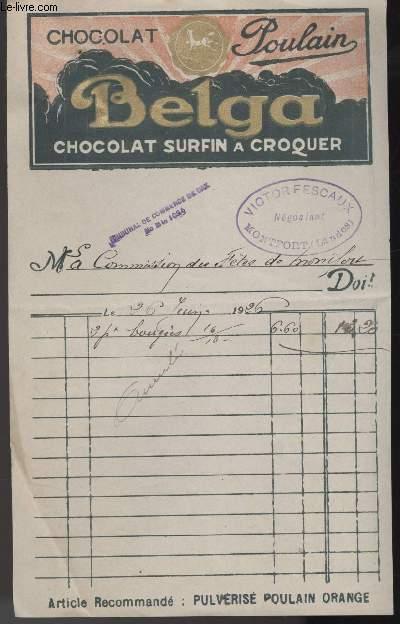 FACTURE ANCIENNE - CHOCOLAT POULAIN