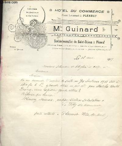 1 LETTRE  ANCIENNE ILLUSTREE DE L'HOTEL DU COMMERCE MIN GUINARD PLACE LOURMEL A PLENEUF