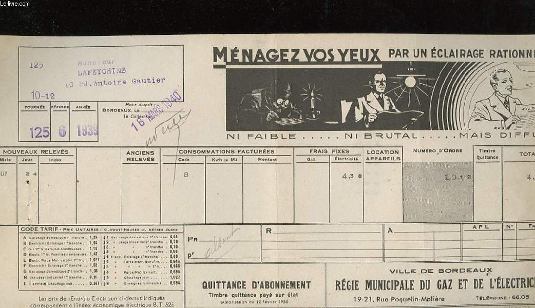 1 - QUITTANCE D'ABONNEMENT - VILLE DE BORDEAUX REGIE MUNICIPALE DU GAZ ET DE L'ELECTRICITE