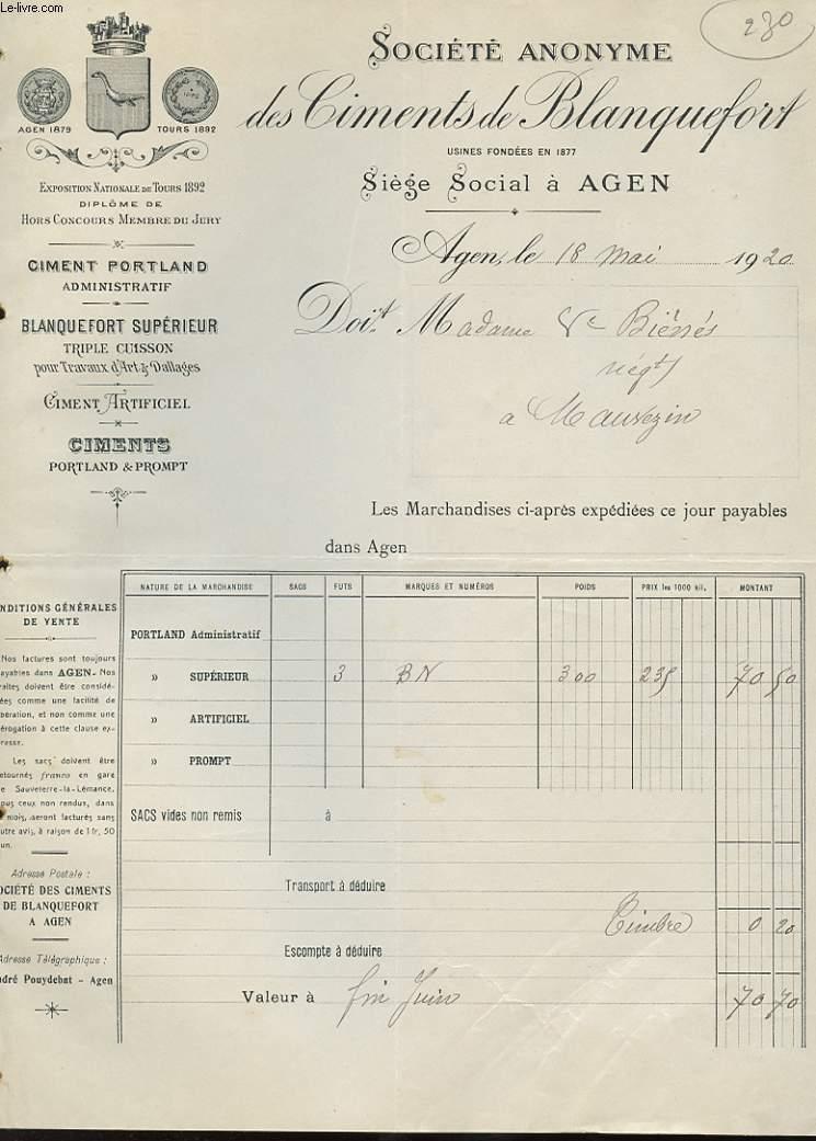 1 FACTURE ANCIENNE - SOCIETE ANONYME DES CIMENTS DE BLANQUEFORT, CIMENT PORTLAND, CIMENT ARTIFICIEL, A AGEN - EXPOSITION NATIONALE DE TOURS 1892 DIPLOME DE HORS CONCOURS MEMBRE DU JURY