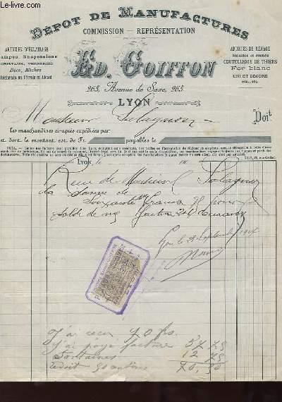 1 FACTURE ANCIENNE - DEPOT DE MANUFACTURES COMMISSION, REPRESENTATION - ED. GOIFFON